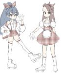 2girls alternate_costume anjerain black_eyes blue_hair brown_hair ganaha_hibiki gloves highres idolmaster idolmaster_(classic) looking_at_viewer minase_iori multiple_girls plaid plaid_skirt ponytail roller_skates skates sketch skirt smile vintage_clothes white_gloves
