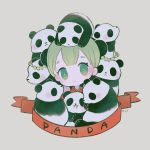 1girl ayu_(mog) blush braid bright_pupils bun_cover china_dress chinese_clothes closed_mouth double_bun dress green_eyes green_hair grey_background head_tilt looking_at_viewer original panda red_dress signature simple_background solo twin_braids white_pupils