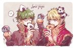 !? 2boys animal_on_head bangs beige_background black-framed_eyewear blonde_hair blue_eyes brown_jacket chest chocolate_syrup collarbone commentary_request dated doughnut eating food food_on_head glasses green_hair hair_between_eyes high_collar high_wizard_(ragnarok_online) highres holding holding_food ice_cream ichimi_(simtysiger) jacket long_sleeves looking_at_another multicolored multicolored_clothes multiple_boys object_on_head on_head onigiri orange_eyes panda ragnarok_online shirt signature simple_background spoken_interrobang sprinkles sweat two-tone_background upper_body upper_teeth white_shirt wizard_(ragnarok_online)