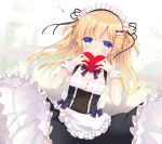 1girl apron black_skirt blonde_hair blue_eyes blush bow breasts closed_mouth commentary_request detached_sleeves frilled_apron frilled_skirt frills hands_up heart holding holding_heart long_hair maid maid_headdress one_side_up original puffy_short_sleeves puffy_sleeves purinko purple_bow shirt short_sleeves skirt small_breasts smile solo very_long_hair white_apron white_shirt white_sleeves wrist_cuffs