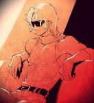 1boy bare_shoulders belt char_aznable gloves gundam highres oliolio quattro_vageena short_hair sitting smile solo sunglasses sweater turtleneck turtleneck_sweater zeta_gundam