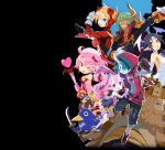 3boys 4boys :o absurdres aiguillette bare_legs beard bieko_(disgaea) black_coat black_hair black_shorts blonde_hair blue_eyes blue_hair blue_skin bodysuit cerberus_(disgaea) character_request circlet coat crown dark_skin disgaea dog dress facial_hair gloves green_hair grey_gloves grin hair_over_one_eye hand_on_another's_shoulder harada_takehito hat head_wings heart highres holding holding_wand horns ivar_(disgaea) long_hair looking_at_viewer majolaine_(disgaea) makai_senki_disgaea_6 melodia_(disgaea) multiple_boys mustache official_art one_eye_closed open_mouth pink_gloves pink_hair piyori_(disgaea) pointy_ears prinny profile purple_dress purple_hair purple_skin red_bodysuit red_eyes red_hoodie shirtless shoes short_hair shorts side_ponytail single_horn smile striped twintails v vertical_stripes wand white_gloves yellow_eyes zed_(disgaea)