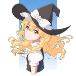 1girl artist_request black_dress blonde_hair bow braid dress hair_bow hat hat_bow highres kirisame_marisa long_hair puffy_sleeves shirt short_sleeves smile solo touhou upper_body white_bow white_shirt witch_hat yellow_eyes