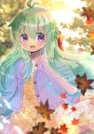 1girl :d ahoge autumn_leaves bangs blurry blurry_background blurry_foreground bow braid brown_dress commentary_request depth_of_field dress eyebrows_visible_through_hair floral_print green_hair hair_between_eyes hair_bow jacket kouu_hiyoyo leaf long_hair long_sleeves looking_at_viewer maple_leaf open_clothes open_jacket open_mouth original print_dress purple_jacket red_bow smile solo very_long_hair violet_eyes