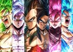 6+boys absurdres aura black_hair blank_eyes blue_eyes blue_hair broly_(dragon_ball_super) bruise dragon_ball dragon_ball_gt dragon_ball_super dragon_ball_super_broly dual_persona earrings fur gokuu_black green_hair grey_eyes highres injury jewelry looking_at_viewer multiple_boys muscle open_mouth pectorals pink_hair potara_earrings scar serious silver_hair smile son_gokuu sumutemu super_saiyan super_saiyan_4 super_saiyan_blue super_saiyan_full_power super_saiyan_rose ultra_instinct vegeta vegetto yellow_eyes