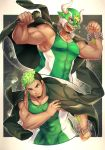 1boy bara bare_arms black_hair bulge chest collarbone covered_abs covered_navel covered_nipples dark_skin dark_skinned_male facial_hair goatee gozu_farm green_eyes green_hair highres holding holding_microphone horned_mask jacket jacket_on_shoulders male_focus mask mask_removed microphone multicolored_hair multiple_views muscle short_hair sideburns taurus_mask thick_thighs thighs tight tokyo_houkago_summoners two-tone_hair upper_body wrestling_mask wrestling_outfit