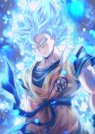 1boy arms_at_sides blue_eyes blue_hair closed_mouth dougi dragon_ball dragon_ball_super dutch_angle male_focus mattari_illust muscle sash serious solo son_gokuu standing super_saiyan super_saiyan_blue transformation