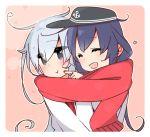2girls akatsuki_(kantai_collection) blue_eyes blue_hair blush cheek_poking hat heart hibiki_(kantai_collection) hug kantai_collection multiple_girls poking pout red_scarf sailor_hat scarf shared_scarf silver_hair yoru_nai