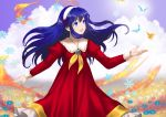1girl :d bangs blue_eyes blue_flower blue_hair blurry blurry_background bug butterfly clouds day dress field fire_emblem fire_emblem:_the_binding_blade floating_hair flower flower_field green_flower green_rose hair_between_eyes hairband insect lilina_(fire_emblem) long_dress long_hair long_sleeves neckerchief open_mouth outdoors red_dress rose shiny shiny_hair shoochiku_bai smile snowflakes solo standing very_long_hair white_hairband yellow_neckwear