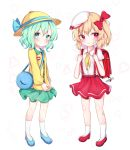 2girls :< alternate_costume backpack bag bandaid bandaid_on_face bandaid_on_leg beret blonde_hair blue_footwear blue_ribbon blush bow charm_(object) closed_mouth collared_shirt cravat eyebrows_visible_through_hair flandre_scarlet flat_chest full_body green_eyes green_hair green_skirt hair_bow hanen_(borry) hat hat_ribbon heart heart_background highres komeiji_koishi long_sleeves looking_at_viewer looking_to_the_side multiple_girls neckerchief no_wings one_side_up randoseru red_bow red_eyes red_footwear red_skirt ribbon school_bag shirt short_hair short_sleeves simple_background skirt smile suspenders touhou v-shaped_eyebrows white_background white_headwear white_legwear white_shirt yellow_headwear yellow_neckwear yellow_shirt