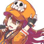 1girl anchor bangs brown_hair collarbone finger_to_chin fingerless_gloves gloves guilty_gear guilty_gear_strive hair_over_eyes hand_on_headwear hand_up jacket large_hat long_hair looking_at_viewer may_(guilty_gear) open_mouth orange_headwear orange_jacket skull_and_crossbones smile solo tomoe_no_kaminari upper_body yellow_eyes