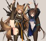 2girls :d amiya_(arknights) animal_ears arknights arms_up ascot ass_visible_through_thighs bangs black_jacket black_legwear blue_eyes blue_neckwear blue_skirt blush brown_hair bunny_tail ceobe_(arknights) commentary_request eyebrows_visible_through_hair grey_background hair_between_eyes highres jacket leg_up long_hair long_sleeves looking_at_viewer miniskirt multiple_girls open_clothes open_jacket open_mouth oripathy_lesion_(arknights) panties pantyhose plaid plaid_skirt pleated_skirt rabbit_ears red_eyes shirt sigm@ simple_background skirt smile split standing standing_on_one_leg standing_split tail thigh-highs thighlet thighs underwear very_long_hair white_panties white_shirt