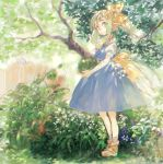 2girls back_bow blue_dress blue_eyes blue_hair bow brown_footwear cirno commentary_request daiyousei dappled_sunlight day dress fairy_wings fence full_body green_eyes green_hair hair_bow holding konabetate long_hair multiple_girls open_mouth outdoors plant pointy_ears shirt shoes short_hair side_ponytail socks solo_focus sunlight touhou tree white_legwear white_shirt wings yellow_bow