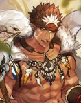 1boy abs bara bare_chest brown_hair chest close-up dark_skin dark_skinned_male face facial_hair goatee gozu_farm headband highres male_focus multicolored_hair muscle nipples pointy_ears revealing_clothes short_hair sideburns snake solo spiky_hair tangaroa tattoo tokyo_houkago_summoners tooth_necklace tribal_tattoo two-tone_hair white_hair yellow_eyes