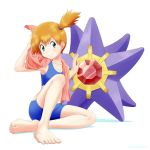 1girl bangs barefoot blush closed_mouth collarbone commentary_request eyelashes gen_1_pokemon green_eyes hair_tie highres holding holding_towel kuroki_shigewo looking_to_the_side misty_(pokemon) orange_hair pink_towel pokemon pokemon_(creature) pokemon_(game) pokemon_frlg side_ponytail sitting smile starmie swimsuit tied_hair toenails toes towel towel_around_neck