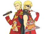 2boys bare_shoulders blonde_hair cake cape char's_counterattack char_aznable dual_persona food fruit gloves gundam holding holding_microphone microphone military military_uniform multiple_boys orange_juice quattro_vageena short_hair smile strawberry sunglasses time_paradox uniform zeta_gundam