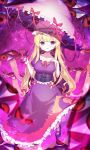 1girl ankle_ribbon bangs blonde_hair blunt_bangs blurry blurry_foreground bow breasts corset depth_of_field dress eyebrows_visible_through_hair eyes flame_print frilled_dress frills full_body gap_(touhou) gradient_eyes hair_bow hand_on_own_chest hat hat_ribbon high_heels highres holding holding_umbrella kiramarukou leg_up light_particles long_hair looking_at_viewer medium_breasts mob_cap multicolored multicolored_eyes pink_bow pink_ribbon purple_corset purple_dress purple_legwear purple_theme red_eyes red_ribbon reflective_eyes ribbon ribbon_trim shiny shiny_hair shiny_skin sidelocks solo space star_(sky) touhou trigram umbrella very_long_hair violet_eyes white_headwear yakumo_yukari yin_yang_print