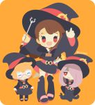 3girls :d arms_up belt black_dress black_footwear black_headwear blonde_hair blush_stickers boots brown_hair chibi closed_mouth commentary dress eyeshadow freckles full_body glasses hair_over_one_eye happy hat holding holding_wand kagari_atsuko light_purple_hair little_witch_academia long_hair looking_at_viewer lotte_jansson luna_nova_school_uniform makeup multiple_girls open_mouth orange_background red_eyes rizu_(rizunm) round_eyewear school_uniform semi-rimless_eyewear short_dress short_hair simple_background size_difference sleeves_past_fingers sleeves_past_wrists smile standing sucy_manbavaran twitter_username under-rim_eyewear wand wide_sleeves witch witch_hat