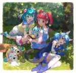 +_+ 3girls :d absurdres ahoge animal_ears aqua_hair blue_footwear blue_gloves blue_hair blue_hairband blue_jacket blue_overalls blue_skirt blush boots braid bun_cover cat_ears cat_tail closed_eyes closed_mouth detached_sleeves eating fetal_position fuwa_(precure) gloves green_eyes hagoromo_lala hair_ornament hairband high_heel_boots high_heels highres hoshina_hikaru huge_filesize jacket kneeling leaning_forward long_hair long_sleeves looking_back lying miniskirt multiple_girls off-shoulder_shirt off_shoulder on_side open_mouth orange_eyes pink_shirt pleated_skirt pointy_ears precure prunce_(precure) red_eyes red_legwear redhead shiny shiny_hair shirt sitting skirt sleeveless sleeveless_jacket smile socks star_(symbol) star_hair_ornament star_twinkle_precure tail thigh-highs twin_braids unicorn white_legwear white_skirt white_sleeves yellow_legwear yuni_(precure) yupiteru