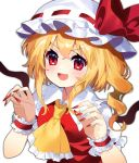 1girl :d ascot blonde_hair blush bow breasts claw_pose commentary_request drill_hair eyebrows_visible_through_hair fang fingernails flandre_scarlet frilled_cuffs frilled_shirt_collar frills hat hat_bow hat_ribbon highres looking_at_viewer mob_cap open_mouth puffy_short_sleeves puffy_sleeves red_bow red_eyes red_nails red_ribbon red_vest ribbon sharp_fingernails short_hair short_sleeves sidelocks simple_background small_breasts smile solo touhou upper_body v-shaped_eyebrows vest white_background white_headwear wings yellow_neckwear yuujin_(yuzinn333)