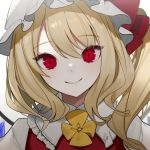 1girl blonde_hair bow commentary_request crying daimaou_ruaeru flandre_scarlet hat hat_bow highres long_hair looking_at_viewer mob_cap red_bow red_eyes red_vest romaji_commentary shirt side_ponytail simple_background slit_pupils smile solo touhou upper_body vest white_background white_headwear white_shirt wings yellow_neckwear