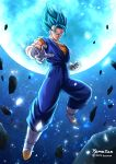 1boy 2094banana blue_eyes blue_hair dragon_ball dragon_ball_super gloves highres long_hair looking_at_viewer moon muscle orange_shirt shiny shiny_hair shirt smug solo spiky_hair super_saiyan super_saiyan_blue twitter_username vegetto white_gloves