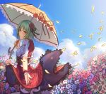 1girl :t absurdres adapted_costume alternate_costume arm_behind_back black_legwear blouse blue_sky blush closed_mouth clouds corset day embarrassed field fingernails flower flower_field frills from_side green_eyes green_hair hair_flower hair_ornament hand_up highres holding kazami_yuuka kneehighs looking_at_viewer looking_back medium_hair medium_skirt nail_polish outdoors parasol petals plaid plaid_skirt plaid_vest pout red_eyes red_nails red_skirt red_vest short_sleeves skirt skirt_lift skirt_set sky solo standing tearing_up thigh-highs touhou umbrella vest wind wind_lift wrist_cuffs yangsan_(2991076090) zettai_ryouiki