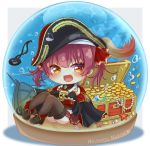 1girl :d black_legwear blush brown_eyes bubble character_name chibi commentary_request diamond_(gemstone) eyepatch eyepatch_removed fang full_body gold_coin hat highres hololive houshou_marine jewelry looking_at_viewer mihanada_kanata necklace open_mouth pearl_(gemstone) pearl_necklace pirate_hat redhead shadow shell ship sitting skin_fang skull sleeves_past_fingers sleeves_past_wrists smile snow_globe solo starfish thigh-highs treasure_chest twintails virtual_youtuber watercraft