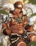 1boy abs bara bare_chest black_briefs brown_hair bulge chest dark_skin dark_skinned_male facial_hair goatee gozu_farm headband highres male_focus multicolored_hair muscle navel nipples o-ring o-ring_bottom pointy_ears revealing_clothes short_hair sideburns snake solo spiky_hair tangaroa tattoo thick_thighs thighs tokyo_houkago_summoners tooth_necklace tribal_tattoo two-tone_hair white_hair yellow_eyes