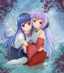 2girls :o absurdres blue_hair blue_skirt blurry bow bowtie branch bubble closed_mouth depth_of_field detached_sleeves full_moon furude_rika hakama hanyuu highres higurashi_no_naku_koro_ni horns hug japanese_clothes light_smile long_hair looking_at_viewer moon multicolored_hair multiple_girls pantyhose partially_submerged pink_bow pleated_skirt purple_bow purple_hair red_hakama sand_(redsunny924) school_uniform sitting skirt two-tone_hair violet_eyes water white_legwear wide_sleeves