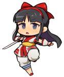 1girl ainu_clothes arm_guards black_hair chibi full_body hair_ribbon ibara. long_hair nakoruru open_mouth ribbon samurai_spirits solo sword weapon