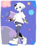 1girl ankle_boots blush_stickers boots border closed_mouth copyright_request eclair_groove enkyo_yuuichirou grey_legwear grey_shorts hair_ornament highres looking_at_viewer metro_mew planet shirt short_hair short_sleeves shorts smile solo space space_craft thigh-highs violet_eyes walking white_border white_footwear white_hair white_shirt white_skin