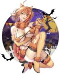 1girl ahoge animal_ears back_bow bat boots bow breasts brown_eyes brown_hair closed_mouth cosplay dangerous_beast elbow_gloves fate/grand_order fate_(series) fujimaru_ritsuka_(female) full_body fur_trim gloves halloween highres katekari_yuusuke large_breasts looking_at_viewer mash_kyrielight mash_kyrielight_(cosplay) orange_footwear orange_gloves paw_gloves paws pennant red_bow revealing_clothes shiny shiny_clothes shiny_skin short_hair solo striped striped_bow thigh-highs thigh_boots