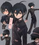 1boy :d absurdres ahoge bangs black_hair black_jacket black_pants blush clenched_teeth closed_eyes closed_mouth commentary_request cropped_legs danganronpa facing_down gakuran grey_background hair_between_eyes hat highres jacket long_sleeves looking_at_viewer male_focus multiple_views new_danganronpa_v3 nia_(nila0513) open_mouth pants saihara_shuuichi school_uniform serious shaded_face shirt short_hair smile standing striped sweatdrop tears teeth translation_request white_shirt