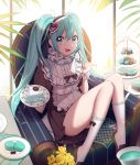 / 1girl absurdres ahoge apron aqua_eyes black_dress bow cookie dress flower food frills hair_between_eyes hatsune_miku heart highres holding indoors looking_at_viewer macaron open_mouth plant plate shoes sidelocks sitting smile sunlight twintails uniform white_legwear window wrist_cuffs