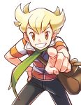 1boy bag bangs barry_(pokemon) black_pants blonde_hair brown_eyes commentary_request green_scarf hand_on_hip highres leaning_forward lobolobo2010 looking_at_viewer male_focus pants pointing pokemon scarf shirt short_sleeves shoulder_bag sketch smile solo striped striped_shirt white_background