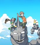 1girl 2boys backpack bag ban_(3551702) baseball_cap black_legwear black_shirt brock_(pokemon) brown_hair clouds commentary_request double_bun floating_hair gen_1_pokemon gen_5_pokemon green_pants hat holding holding_pokemon multiple_boys on_head onix open_mouth orange_sweater outdoors pants pantyhose pikachu pokemon pokemon_(creature) pokemon_(game) pokemon_bw2 pokemon_hgss pokemon_masters_ex pokemon_on_head riding_pokemon rosa_(pokemon) scottie_(pokemon) shirt shoes short_sleeves shorts sidelocks sky smile sneakers snivy sweater tongue visor_cap yellow_shorts