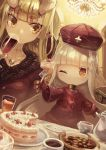 2girls absurdres alcohol bangs blunt_bangs chandelier checkerboard_cookie choker closed_mouth coffee coffee_mug cookie cup dress drinking_glass earrings eye_(okame_nin) fewer_digits food fork fur_trim hat highres holding holding_cup holding_fork horns iga_(okame_nin) jewelry long_sleeves looking_at_another looking_at_viewer looking_to_the_side mug multiple_girls necklace no_mouth okame_nin one_eye_closed original pointy_ears red_dress red_headwear scar sideways_glance spiked_horns strawberry_shortcake surgical_scar symbol_in_eye tablecloth teacup teapot wine wine_glass yellow_eyes
