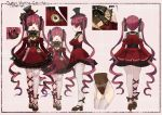 1girl akasaai bangs bare_shoulders black_gloves blush bodystocking breasts clock corset dress frilled_dress frills gloves gothic_lolita hat heterochromia highres hololive houshou_marine large_breasts lolita_fashion long_hair looking_at_viewer multiple_views official_art open_mouth red_dress red_eyes redhead ribbon smile twintails virtual_youtuber yellow_eyes
