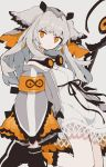 1girl arknights armband bare_legs black_footwear black_gloves boots coat commentary dress feather_trim gloves goggles goggles_around_neck grey_coat highres holding holding_staff long_hair looking_at_viewer orange_eyes orange_legwear owl_ears ptilopsis_(arknights) rhine_lab_logo sikuku simple_background solo staff veil white_background white_dress white_hair