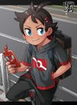 1boy antenna_hair blue_eyes brown_hair closed_mouth commentary_request eyelashes fence gen_4_pokemon goh_(pokemon) hair_ornament hairclip hand_in_pocket highres holding kaminosaki1 looking_to_the_side male_focus pokemon pokemon_(anime) pokemon_swsh_(anime) rotom rotom_phone sitting smile solo watermark