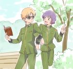 2boys bench blonde_hair book char_aznable garma_zabi gundam holding holding_book locked_arms male_focus military military_uniform mobile_suit_gundam_the_origin multiple_boys purple_hair short_hair smile sunglasses uniform younger