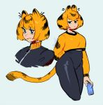 1girl animal_ears arm_at_side arm_behind_back artist_name bangs black_eyes black_hair black_jacket bob_cut breasts bright_pupils can cat_ears cat_tail closed_mouth collarbone commentary crop_top cropped_legs english_commentary eyebrows_visible_through_hair garfield garfield_(character) genderswap genderswap_(mtf) grey_background hair_between_eyes high-waist_pants high_collar holding holding_can humanization jacket leggings long_sleeves looking_at_viewer looking_to_the_side midriff_peek multicolored_hair multiple_views orange_hair shiny shiny_clothes shirt short_hair signature simple_background streaked_hair tail white_pupils yellow_eyeshadow zambiie