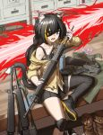 1girl among_us animal_ears assault_rifle bangs bare_shoulders black_eyepatch black_hair black_legwear cat_ears cat_girl cat_tail cheogtanbyeong commentary_request cosplay eyepatch fang girls_frontline gloves green_eyes gun highres holding holding_gun holding_weapon indoors karyl_(princess_connect!) long_hair looking_at_viewer m16 m16a1 m16a1_(girls_frontline) m16a1_(girls_frontline)_(cosplay) multicolored_hair off_shoulder open_mouth princess_connect! rifle shorts sitting solo streaked_hair submachine_gun sweatdrop tail very_long_hair weapon white_hair