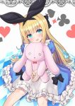 1girl :3 :d black_ribbon blonde_hair blue_eyes blush checkered checkered_floor club_(shape) commentary_request diamond_(shape) dress dutch_angle hair_ribbon heart highres long_hair mononobe_alice nijisanji open_mouth own_hands_together ribbon sitting smile solo spade_(shape) stuffed_animal stuffed_bunny stuffed_toy toriniku_(selene1050) very_long_hair virtual_youtuber white_background