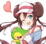 1girl bangs blush bow brown_hair commentary_request double_bun eyelashes floating_hair gen_5_pokemon heart holding holding_pokemon menma_(tmgdn) one_eye_closed open_mouth pink_bow pokemon pokemon_(creature) pokemon_(game) pokemon_bw2 raglan_sleeves rosa_(pokemon) sidelocks smile snivy teeth tongue twintails visor_cap white_background