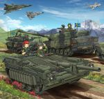 2girls 3boys aircraft airplane aqua_eyes assault_rifle blonde_hair breasts caterpillar_tracks closed_eyes commentary_request day fighter_jet flower graphite_(medium) grass ground_vehicle gun hat headphones highres jet leopard_2 machine_gun mikeran_(mikelan) military military_hat military_uniform military_vehicle motor_vehicle mountain multiple_boys multiple_girls original rifle short_hair sky smile stridsvagn_103 sweden swedish_flag tank traditional_media uniform weapon