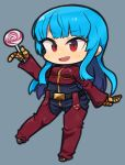 1girl blue_hair bodysuit candy chibi food full_body gloves ibara. kula_diamond lollipop long_hair red_eyes solo the_king_of_fighters tsurime