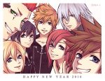 axel_(kingdom_hearts) black_coat_(kingdom_hearts) black_hair blonde_hair blue_eyes breasts brown_hair closed_mouth gloves green_eyes happy_new_year kairi_(kingdom_hearts) kingdom_hearts kingdom_hearts_358/2_days kingdom_hearts_ii long_hair looking_at_viewer multiple_boys multiple_girls new_year open_mouth redhead riku roxas short_hair silver_hair simple_background smile sora_(kingdom_hearts) spiky_hair white_background xion_(kingdom_hearts)
