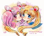 2girls bangs bishoujo_senshi_sailor_moon blonde_hair blue_eyes blue_sailor_collar blush chibi_usa choker circlet closed_mouth crescent crescent_earrings dated double_bun earrings hair_ornament hairpin happy_birthday heart heart_choker jewelry long_hair looking_at_viewer multiple_girls parted_bangs pink_hair pink_sailor_collar red_eyes sailor_chibi_moon sailor_collar sailor_moon sailor_senshi sailor_senshi_uniform sakurai_ruku shiny shiny_hair short_hair signature smile super_sailor_chibi_moon super_sailor_moon tsukino_usagi twintails upper_body yellow_neckwear